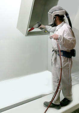 Manual powder coating